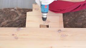 Ξυλουργική στο σπίτι - ένα νέο επαγγελματικό αρσενικό τοποθετεί ένα πάτωμα ξύλου πεύκων απόθεμα βίντεο