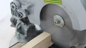 Ξυλουργός εστίασης που πριονίζει τον ξύλινο πίνακα απόθεμα βίντεο