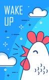 Ξυπνήστε αφίσα με τα σύννεφα και κόκκορας στο μπλε υπόβαθρο Λεπτό επίπεδο σχέδιο γραμμών διάνυσμα απεικόνιση αποθεμάτων