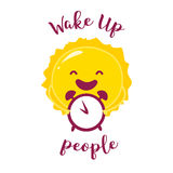 Ξυπνήστε αφίσα με τον αστείους ήλιο και το ξυπνητήρι επίσης corel σύρετε το διάνυσμα απεικόνισης διανυσματική απεικόνιση
