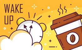 Ξυπνήστε αφίσα με το σύννεφο, το ξυπνητήρι και το φλιτζάνι του καφέ στο κίτρινο υπόβαθρο Λεπτό επίπεδο σχέδιο γραμμών διάνυσμα απεικόνιση αποθεμάτων