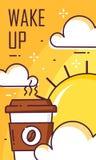 Ξυπνήστε αφίσα με το φλιτζάνι του καφέ, τα σύννεφα και τον ήλιο Λεπτό επίπεδο σχέδιο γραμμών Διανυσματικό έμβλημα καλημέρας απεικόνιση αποθεμάτων