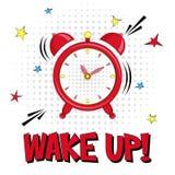 Ξυπνήστε! Διανυσματική γράφοντας απεικόνιση με το συναγερμό και ρολόι αστεριών στο άσπρο υπόβαθρο διανυσματική απεικόνιση