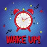 Ξυπνήστε! Διανυσματική γράφοντας απεικόνιση με το συναγερμό και ρολόι αστεριών στο μπλε υπόβαθρο απεικόνιση αποθεμάτων