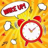 Ξυπνήστε!! Εγγραφή της διανυσματικής απεικόνισης κινούμενων σχεδίων με το ξυπνητήρι στο κίτρινο υπόβαθρο απεικόνιση αποθεμάτων