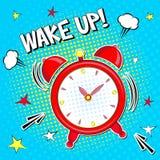 Ξυπνήστε!! Εγγραφή της διανυσματικής απεικόνισης κινούμενων σχεδίων με το ξυπνητήρι στο κίτρινο μπλε υπόβαθρο λαϊκό ύφος τέχνης απεικόνιση αποθεμάτων