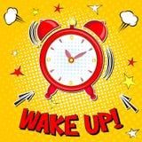 Ξυπνήστε!! Εγγραφή της διανυσματικής απεικόνισης κινούμενων σχεδίων με το ξυπνητήρι στο κίτρινο υπόβαθρο halfone ελεύθερη απεικόνιση δικαιώματος