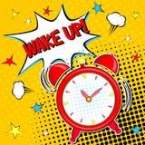 Ξυπνήστε!! Εγγραφή της διανυσματικής απεικόνισης κινούμενων σχεδίων με το ξυπνητήρι στο κίτρινο υπόβαθρο halfone διανυσματική απεικόνιση
