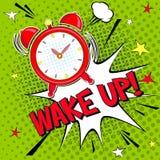 Ξυπνήστε!! Εγγραφή της διανυσματικής απεικόνισης κινούμενων σχεδίων με το ξυπνητήρι στο πράσινο υπόβαθρο halfone διανυσματική απεικόνιση
