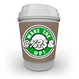 Ξυπνήστε το @%; Το S& επάνω στο φλυτζάνι καφέ αυξάνει την επιφυλακή συνειδητοποίησης διανυσματική απεικόνιση