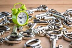 ξυπνητήρι και σωρός των κλειδιών Στοκ εικόνα με δικαίωμα ελεύθερης χρήσης