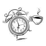 Ξυπνητήρι κινούμενων σχεδίων με το χτύπημα φλιτζανιών του καφέ Ξυπνήστε χρόνος Γραπτό σκίτσο Συρμένη χέρι διανυσματική απεικόνιση απεικόνιση αποθεμάτων