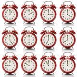 Ξυπνητήρι κολάζ σε κάθε ώρα στο άσπρο υπόβαθρο Στοκ Εικόνες