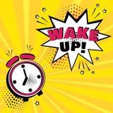 Ξυπνητήρι με την άσπρη κωμική φυσαλίδα με ΞΥΠΝΉΣΤΕ τη λέξη στο πορτοκαλί υπόβαθρο Κωμικά υγιή αποτελέσματα στο λαϊκό ύφος τέχνης  διανυσματική απεικόνιση