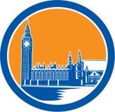 Ξυλογραφία παλατιών του Γουέστμινστερ πύργων ρολογιών Big Ben αναδρομική Στοκ φωτογραφίες με δικαίωμα ελεύθερης χρήσης