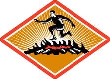 Ξυλογραφία πυρκαγιάς άλματος αγώνα εμποδίων Στοκ Εικόνα