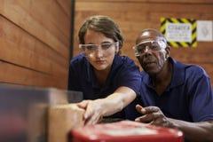Ξυλουργός που εκπαιδεύει το θηλυκό μαθητευόμενο για να χρησιμοποιήσει το αεροπλάνο Στοκ Φωτογραφία