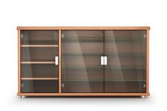 Ξύλινα έπιπλα Πίνακας πλευρών γραφείου με τα ράφια γυαλιού που απομονώνονται σε ένα άσπρο υπόβαθρο απεικόνιση αποθεμάτων