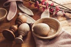 Ξύλινα αυγά, σύμβολο Πάσχας αυτιών κουνελιών, Στοκ φωτογραφίες με δικαίωμα ελεύθερης χρήσης