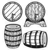 Ξύλινα βαρέλια τέσσερα διανυσματική απεικόνιση ύφους διανυσματική απεικόνιση
