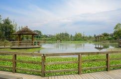 Ξύλινα γέφυρα για πεζούς και περίπτερα πέρα από τη λίμνη στην επαρχία το ηλιόλουστο θερινό μεσημέρι στοκ φωτογραφίες με δικαίωμα ελεύθερης χρήσης