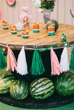 Ξύλινα γενέθλια διακοπών επιτραπέζιων παιδιών ` s πικ-νίκ με τα καρπούζια, ντεκόρ των άσπρων και ρόδινων κορδελλών και χρωματισμέ Στοκ εικόνες με δικαίωμα ελεύθερης χρήσης