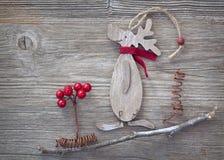 Ξύλινα ελάφια Χριστουγέννων Στοκ Φωτογραφία