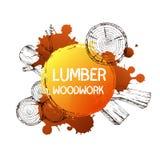 Ξύλινα, καίγοντας υλικά Διανυσματική συλλογή απεικόνισης σκίτσων Υλικά για την ξύλινη βιομηχανία Πρότυπο για την εκτύπωση, Ιστός Στοκ εικόνα με δικαίωμα ελεύθερης χρήσης