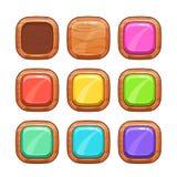 Ξύλινα κουμπιά κινούμενων σχεδίων καθορισμένα Στοκ φωτογραφία με δικαίωμα ελεύθερης χρήσης