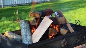 Ξύλινα κούτσουρα που καίνε για τους άνθρακες στη σχάρα ορειχαλκουργών απόθεμα βίντεο