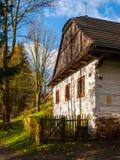 Ξύλινα σπίτια του λαϊκού μουσείου Vesely Kopec Τσεχική αγροτική αρχιτεκτονική Vysocina, Δημοκρατία της Τσεχίας Στοκ Εικόνα