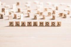 Ξύλινα στοιχεία με συλλεχθε'ν το επιστολή playschool λέξης Στοκ Εικόνες