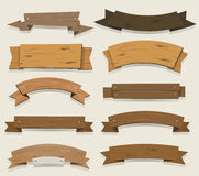 Ξύλινες εμβλήματα και κορδέλλες κινούμενων σχεδίων Στοκ Εικόνες