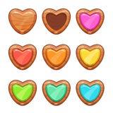 Ξύλινες καρδιές κινούμενων σχεδίων καθορισμένες Στοκ εικόνα με δικαίωμα ελεύθερης χρήσης