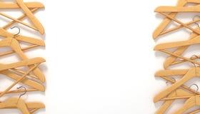 Ξύλινες κρεμάστρες ενδυμάτων τρισδιάστατες ελεύθερη απεικόνιση δικαιώματος
