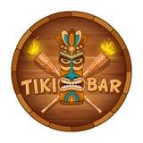 Ξύλινες μάσκα Tiki και πινακίδα του φραγμού ελεύθερη απεικόνιση δικαιώματος