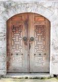 Ξύλινες πόρτες δύο κομματιών στοκ εικόνα με δικαίωμα ελεύθερης χρήσης