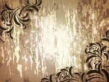 Ξύλινη ανασκόπηση με floral διανυσματική απεικόνιση