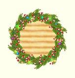 Ξύλινη ανασκόπηση Χριστουγέννων με τη διακόσμηση διακοπών Στοκ Εικόνα
