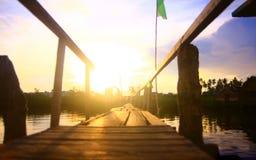 Ξύλινη γέφυρα στην ανατολή σε Mangroove στοκ εικόνες