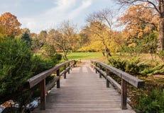 Ξύλινη γέφυρα στο πάρκο φθινοπώρου στοκ φωτογραφία
