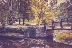 Ξύλινη γέφυρα στο τοπίο φθινοπώρου στοκ φωτογραφίες