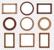 Ξύλινη εκλεκτής ποιότητας συλλογή πλαισίων Στοκ εικόνα με δικαίωμα ελεύθερης χρήσης