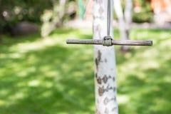 Ξύλινη ενιαία ταλάντευση σχοινιών στον κήπο τη φωτεινή ηλιόλουστη ημέρα Πράσινος χορτοτάπητας χλόης στο υπόβαθρο Παιδιά που έχουν Στοκ φωτογραφία με δικαίωμα ελεύθερης χρήσης