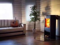 Ξύλινη καίγοντας σόμπα στο άνετο καθιστικό στοκ φωτογραφίες με δικαίωμα ελεύθερης χρήσης