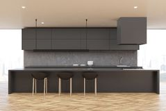Ξύλινη κουζίνα πατωμάτων, γκρίζος πίνακας, μέτωπο διανυσματική απεικόνιση