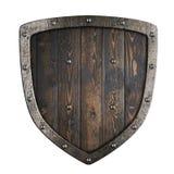 Ξύλινη μεσαιωνική ασπίδα Βίκινγκ με την τρισδιάστατη απεικόνιση πλαισίων μετάλλων στοκ φωτογραφίες με δικαίωμα ελεύθερης χρήσης