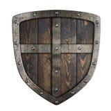 Ξύλινη μεσαιωνική ασπίδα Βίκινγκ με το πλαίσιο μετάλλων και τη διαγώνια τρισδιάστατη απεικόνιση διανυσματική απεικόνιση