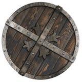 Ξύλινη μεσαιωνική στρογγυλή ασπίδα με το πλαίσιο μετάλλων και τη διαγώνια τρισδιάστατη απεικόνιση απεικόνιση αποθεμάτων