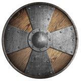 Ξύλινη μεσαιωνική στρογγυλή ασπίδα με το σταυρό που απομονώνεται στην άσπρη τρισδιάστατη απεικόνιση απεικόνιση αποθεμάτων